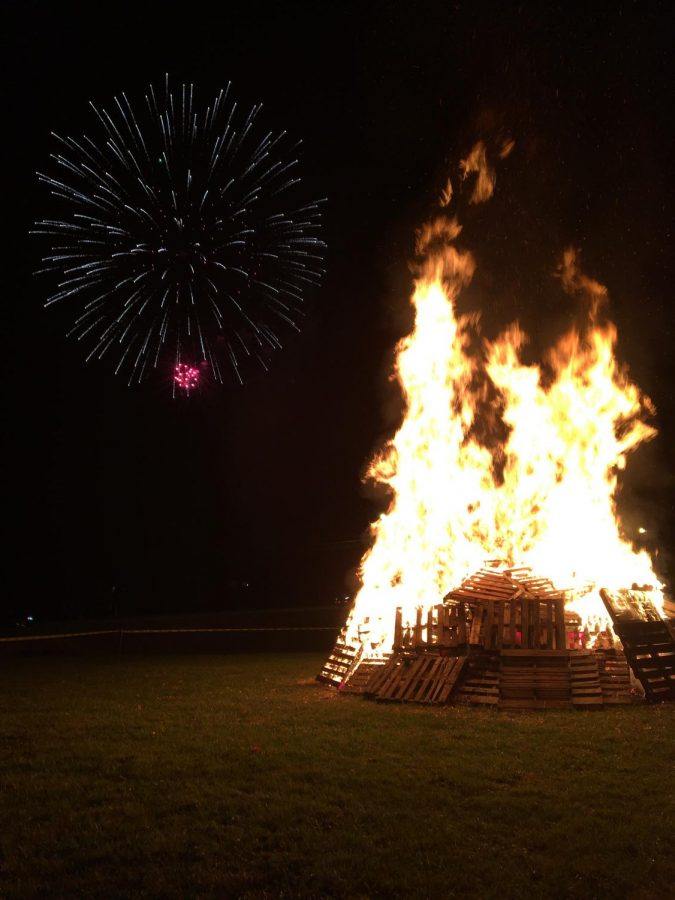 Homecoming kicked off with the bonfire and fireworks on Friday night.