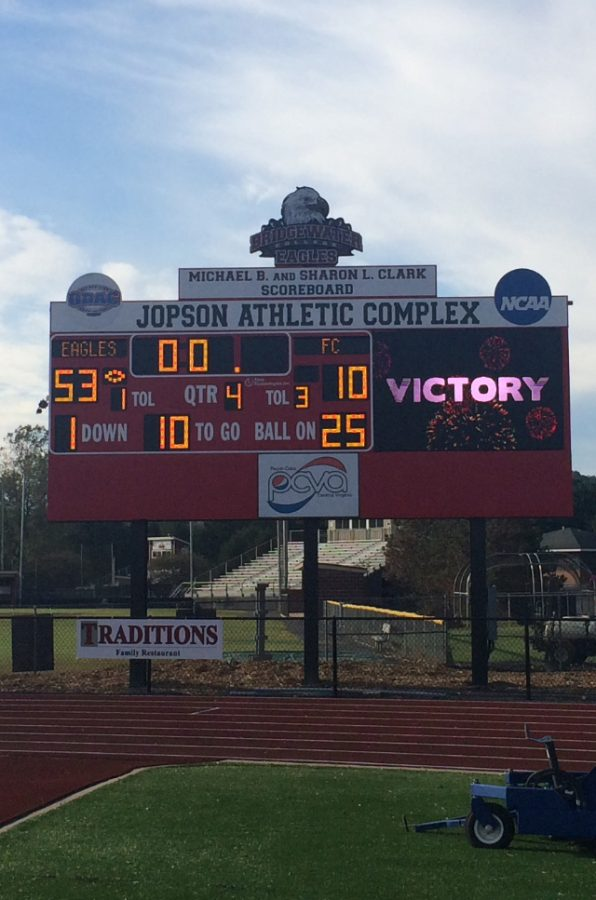 Bridgewater Eagles win Homecoming game 53-10 against the Ferrum Panthers to continue their undefeated season.