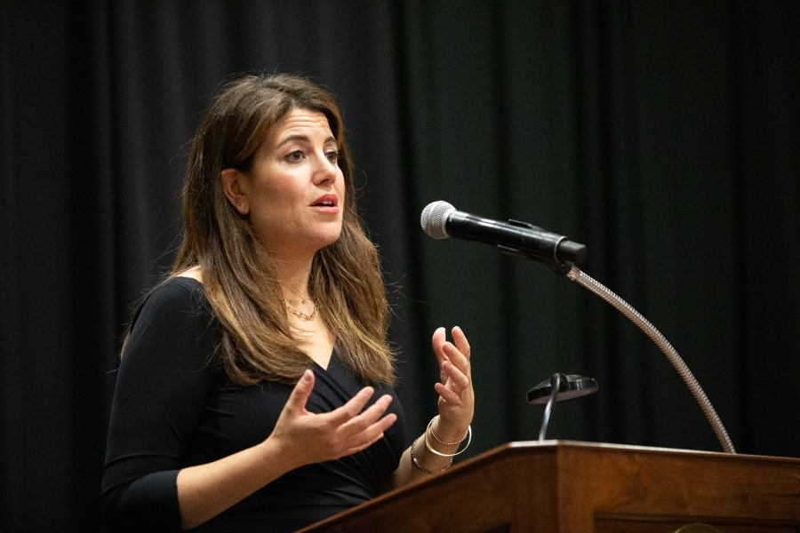 Social Activist Monica Lewinsky speaks at Bridgewater College, informing the audience about public shaming and humiliation culture.