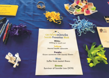 Different colored ribbons representing relationships to mental health. People could take these ribbons and pin them on their backpacks or shirts. Each color represents a different relationship to mental health.