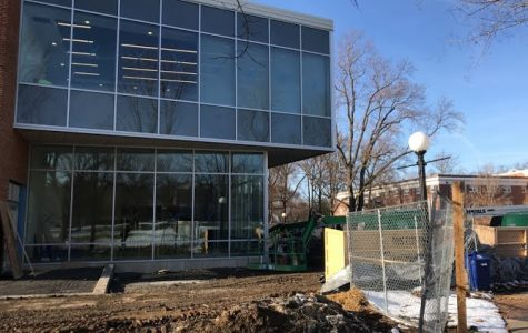 The John Kenny Forrer Learning Commons under construction. There is a webcam that shows a live pic of the building every 10 minutes available on Bridgewater's official website at https://www.bridgewater.edu/learningcommons/