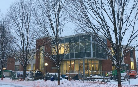 A glimpse of the Learning Commons at dawn in the winter season.