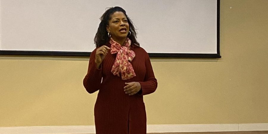 Pictured is Donna Hopkins, who gave a lecture at Bridgewater College about overcoming adversities and seeking victories within one's life