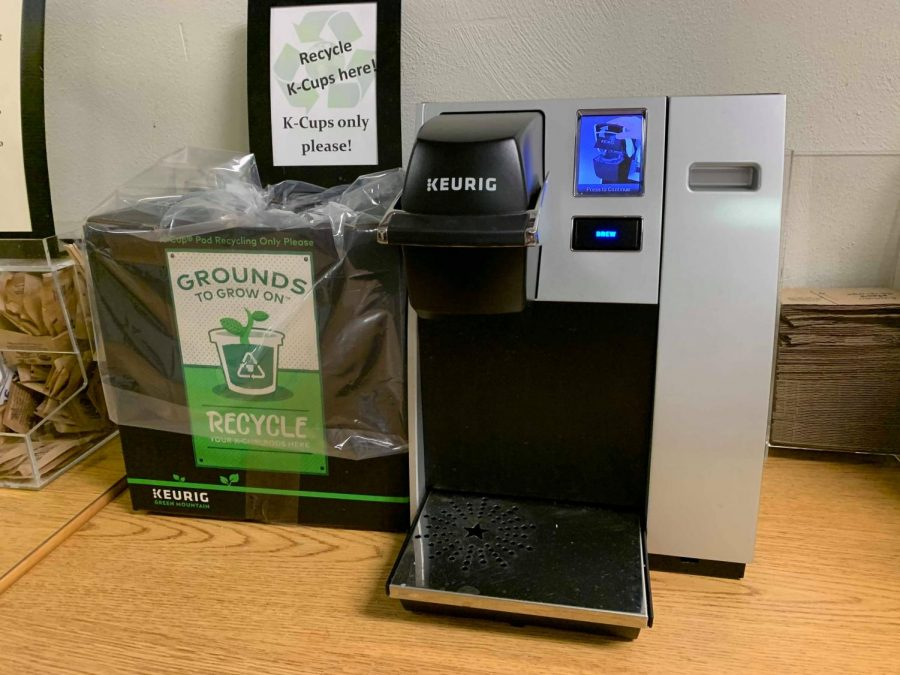 The K-Cup recycling box located beside the Keurig coffee services in the library.