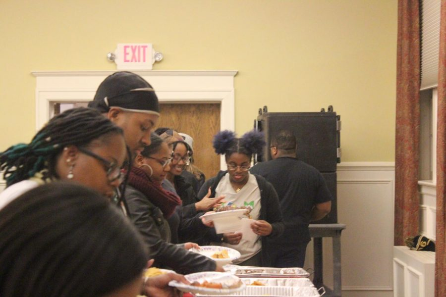 Students of the college lined up to taste soul food from The Soul Food Joint of Charlottesville, Va. before the event.