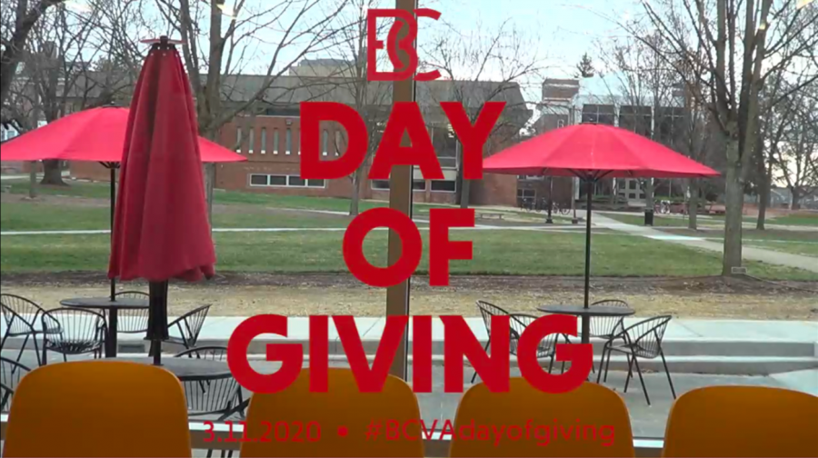 The Day of Giving livestream, hosted by Bridgewater College Athletics, was broadcast live in the new John Kenny Forrer Learning Commons.