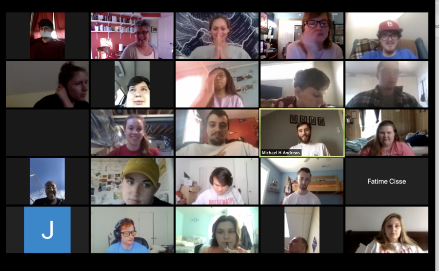 Online learning for some means meeting in Zoom classes. This is a screen shot capturing some of those attending  COMM-PWR 131 News Praticum, which is responsible for BCVoice, on Monday, March 30.