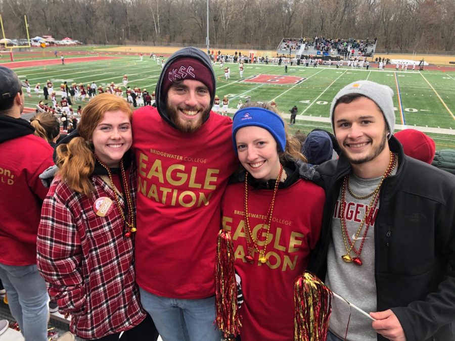 "(Left to right) Sophomore Heather Donnelly with seniors Holden Andrews, Sarah Riley and Jason Moughon. Riley said, ""it's hard to imagine my senior year at Bridgewater is ending without much notice."""