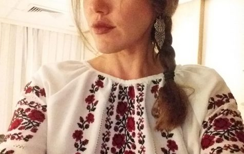 Nicole A. Yurcaba, instructor of English at Bridgewater College, wearing a vyshyvanka--an embroidered blouse. The vyshyvanka is a form of traditional Ukranian art.