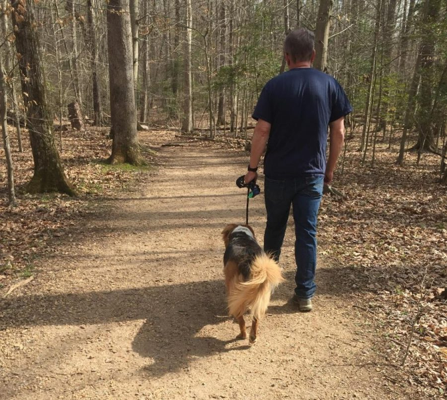 Prince William County Virginia resident Paul Carson walking his dog in a local National Park during the COVID-19 pandemic. Carson takes his dog, Lucy, on a long hike every afternoon and he hopes that his daily routine will not be curtailed by the pandemic.