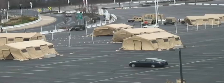 Tents in parking lot