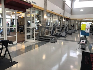 The weight room has been rearranged and equipment spaced out with a new occupancy of 15 people. Equipment that could not be moved but is in too close proximity to each other.