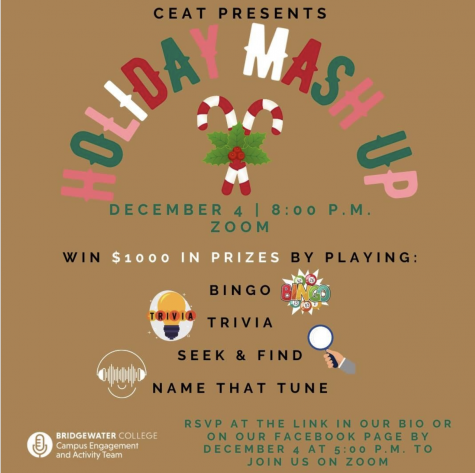 Instagram announcement for virtual CEAT Holiday Mash Up event for Bridgewater College students