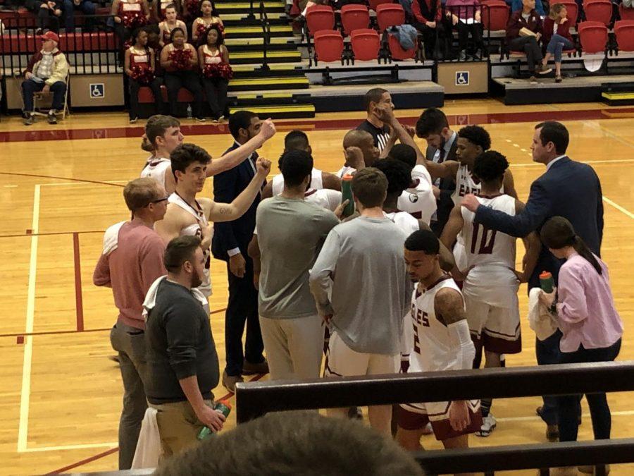 Men's basketball huddle