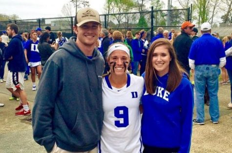 Morgan Rodgers, center, after a game during her freshman season for the women's lacrosse team at Duke University. Rogers' life created a legacy which provides a safe space for processing difficult topics and emotions, and makes people feel less alone in each Morgan's Message chapter.