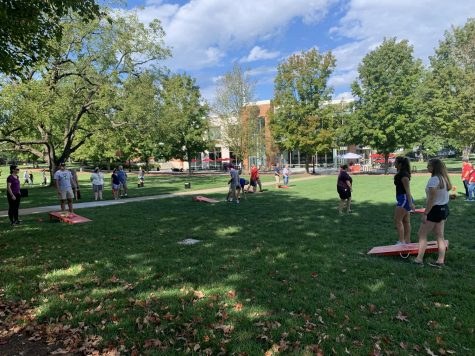 Family Weekend Cornhole Tournament on the campus mall